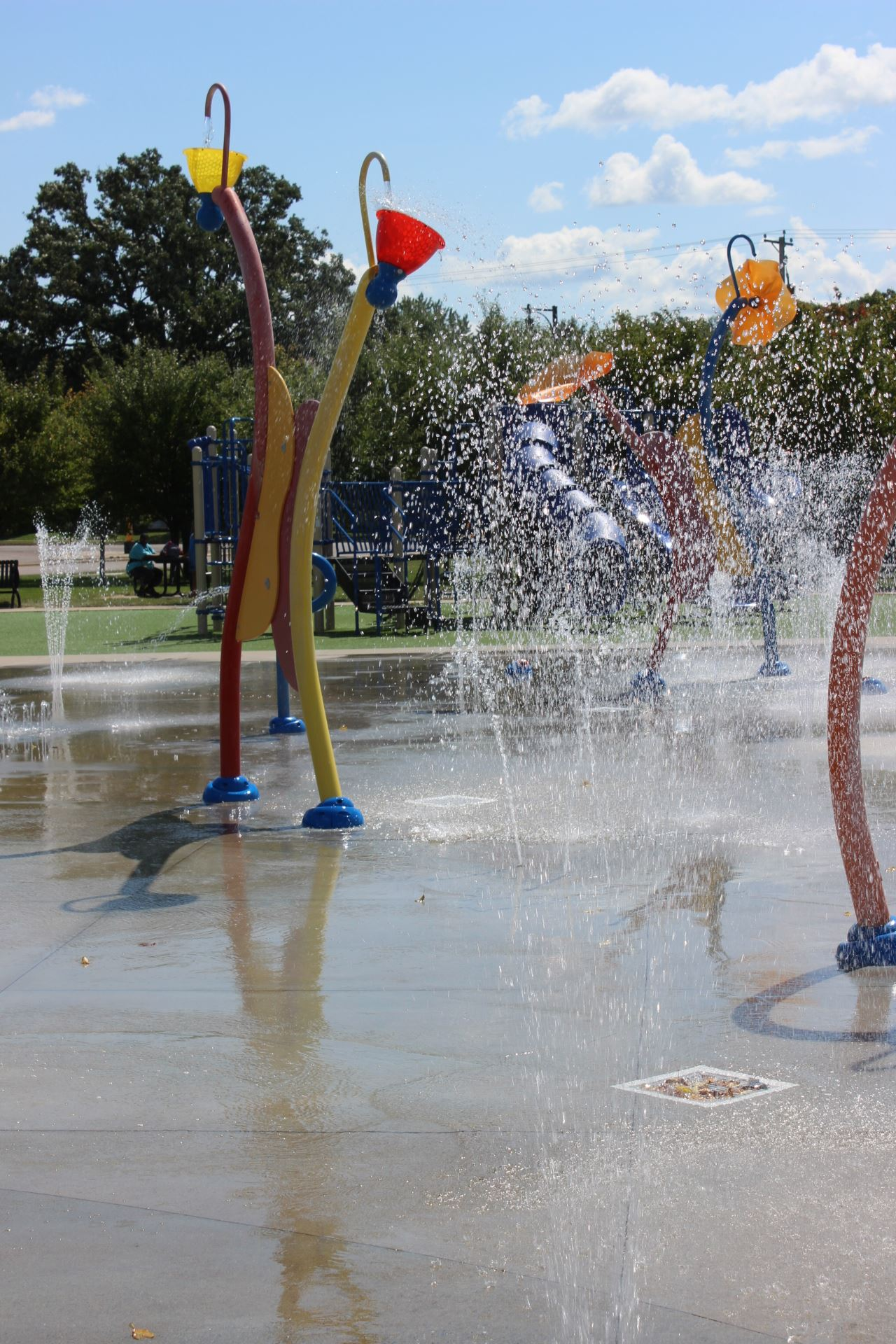 Action picture of the water features at the Splash Pad