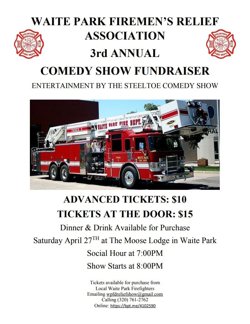 Firemens Relief Comedy Show Fundraiser Flyer