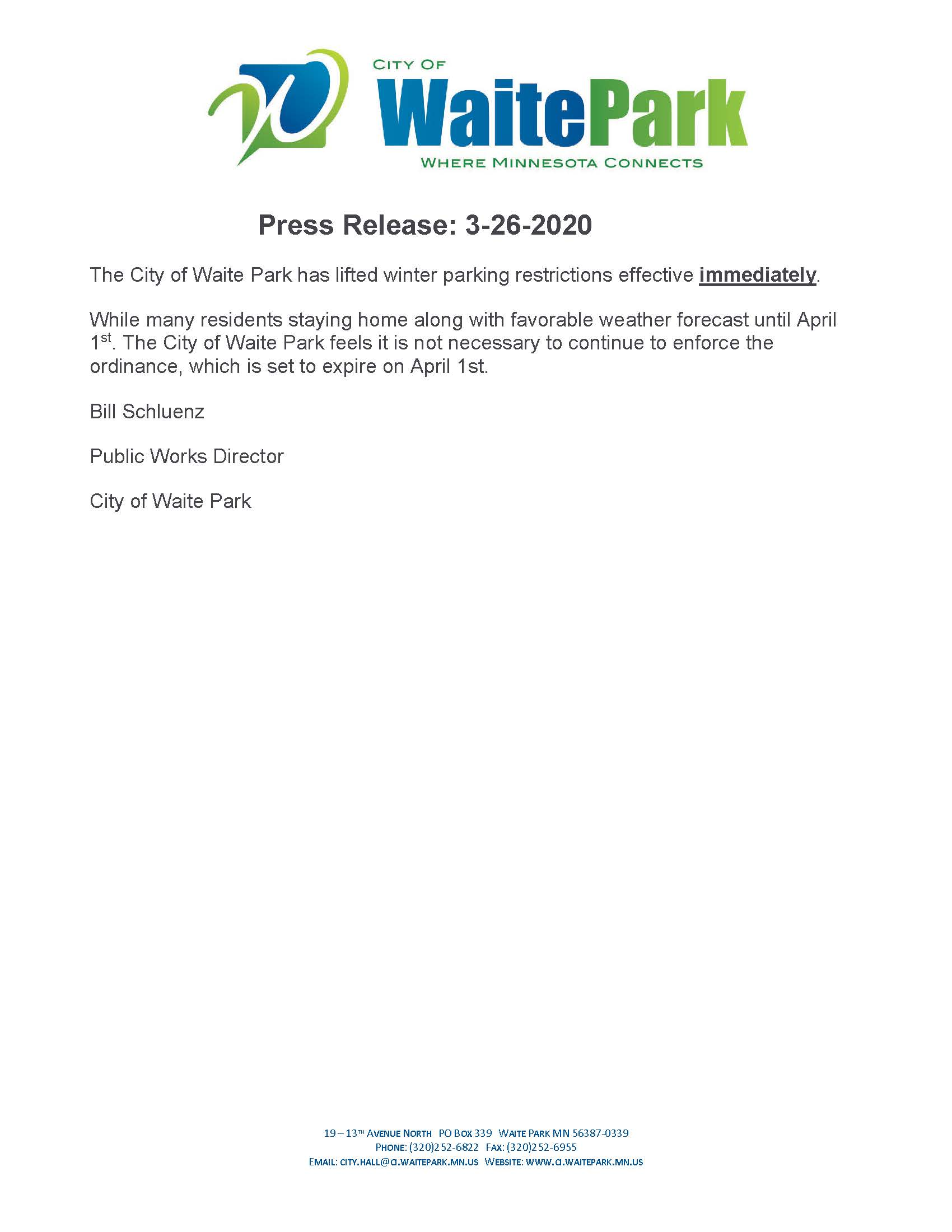 Press Release removing winter parking restrictions effective 3-26-2020