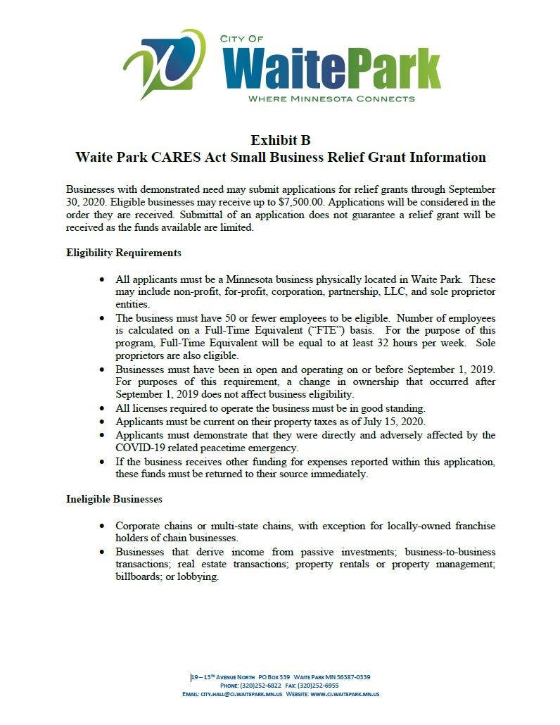 WP CARES Act Small Business Relief Grant Information Pg1