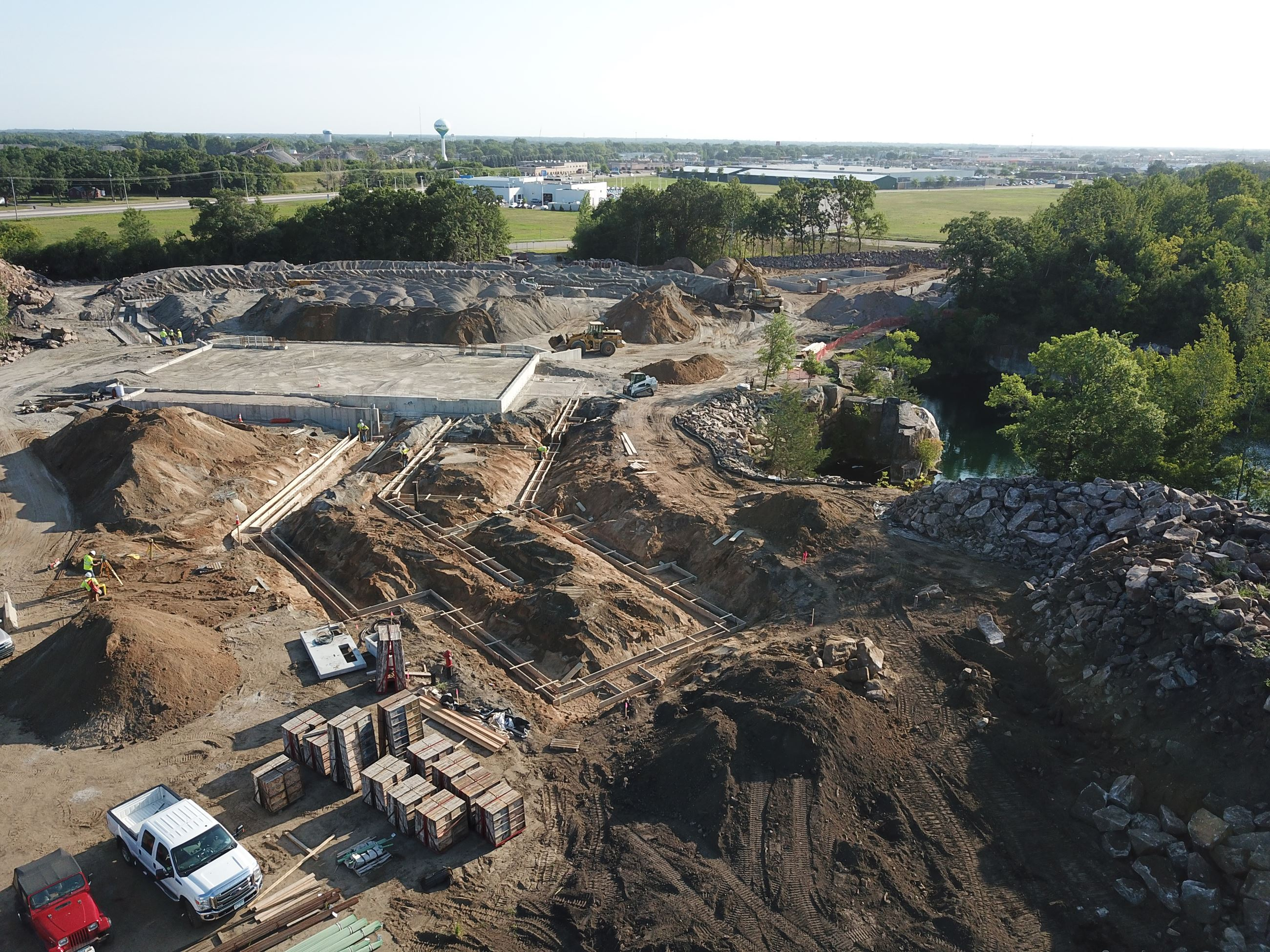 Overhead view of the Amphitheater construction site showing the backstage area